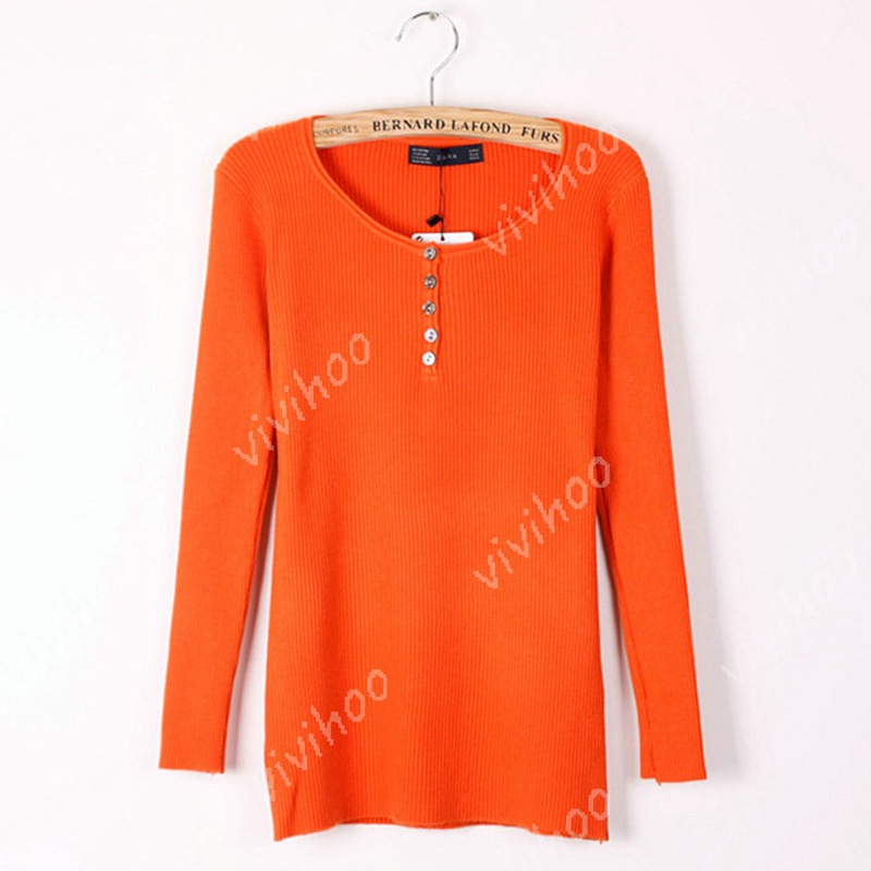 New 2014 Women Cotton Blend O-Neck Full Sleeve Special Design WIth Button Fashion Pullover Knit Bottoming Sweater Outwear Tops