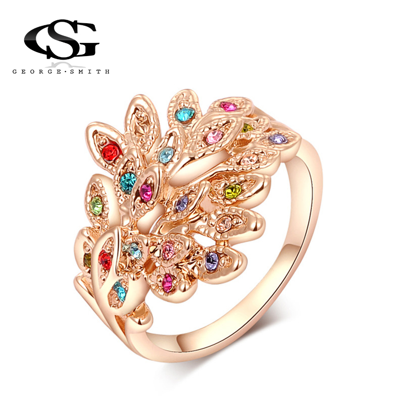 GS Brand Peacock Rings Rose Gold Color Genuine Austrian Crystals Fashion Women Wedding Jewelry Birthday Gift Y3