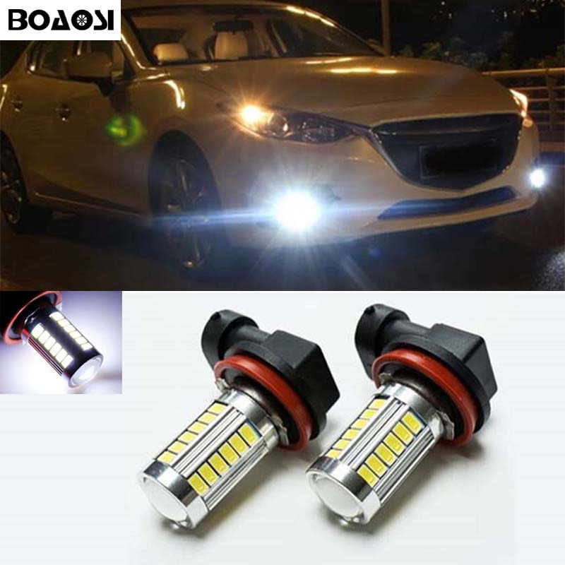 BOAOSI 2x Super White H8 H11 CREE Chip 5630SMD LED Fog Light Driving Bulbs for <font><b>mazda</b></font> <font><b>3</b></font> 5 6 xc-5 cx-7 axela atenza image
