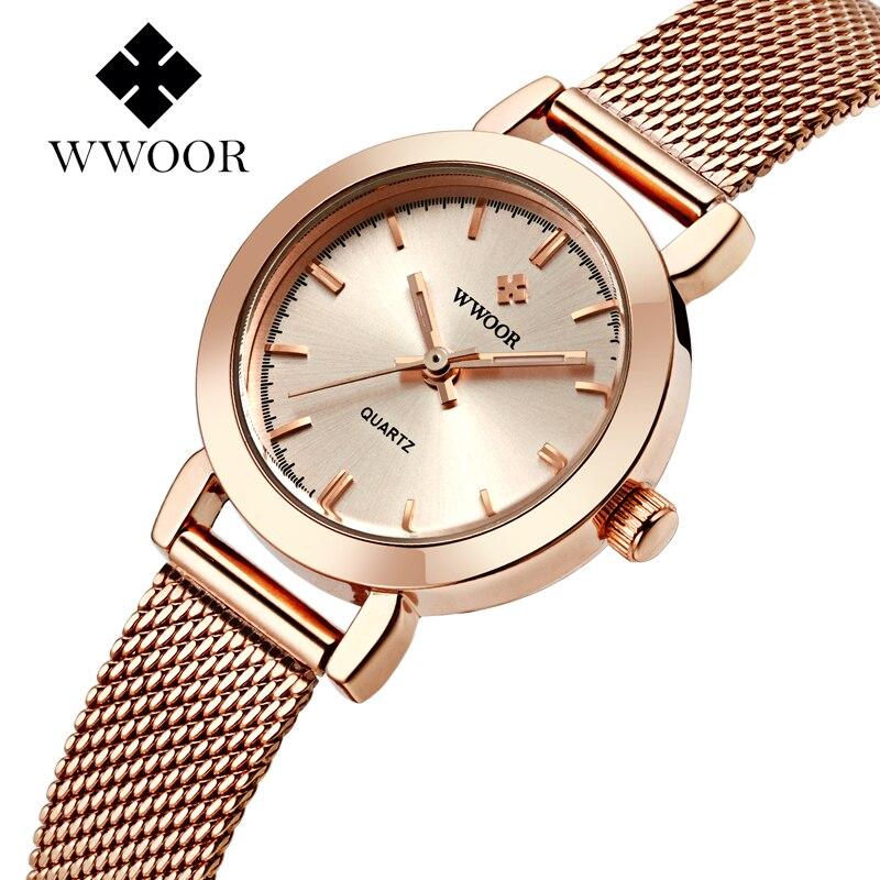 2016new Wwoor Frauen Rose Gold Edelstahl Quarzuhr Dame Casual Stunden Armband Uhren Frauen Liebhaber Weibliche Uhr Geschenk