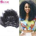 Grampo Em Extensões de Cabelo Humano Virgem Do Cabelo Humano Afro Kinky Curly grampo Em Extensões Do Cabelo Remy Grampo No Cabelo Africano Americano Venda