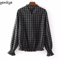 European Style Women Plaid Shirt Stand Collar Tops Lady Casual Long Sleeve Ruffle Vintage Blouse Blusa
