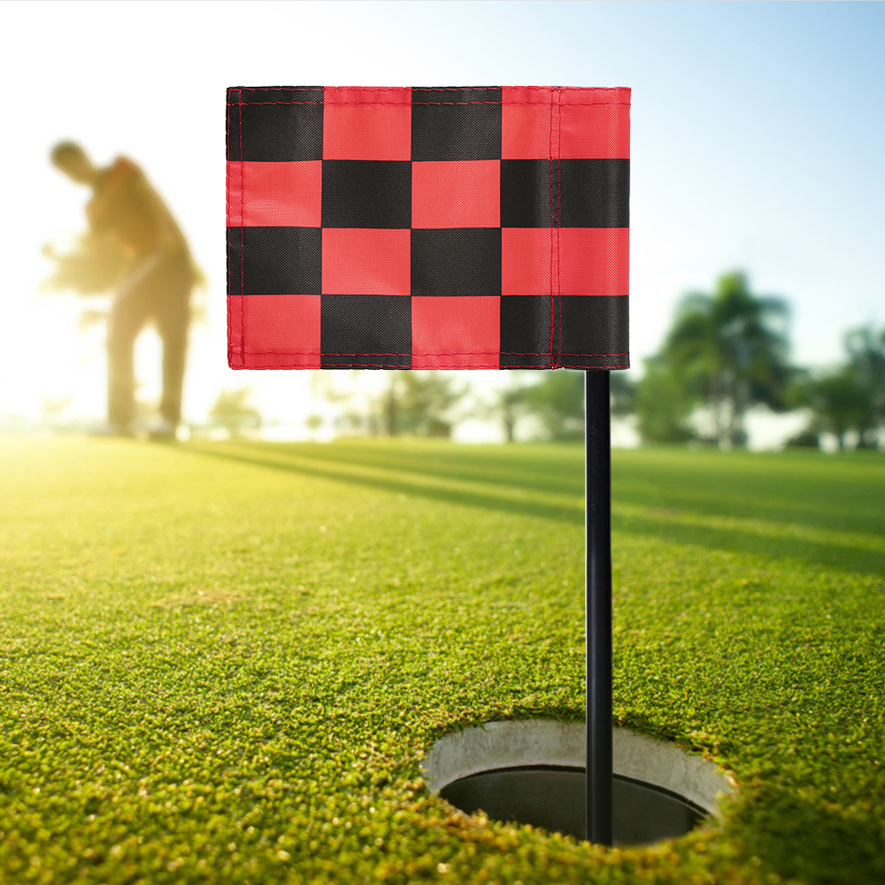 Golf Green Flag Practice Putting Training Green Flag Nylon Golf Flag Pure Color Checkered Golf Target Flags