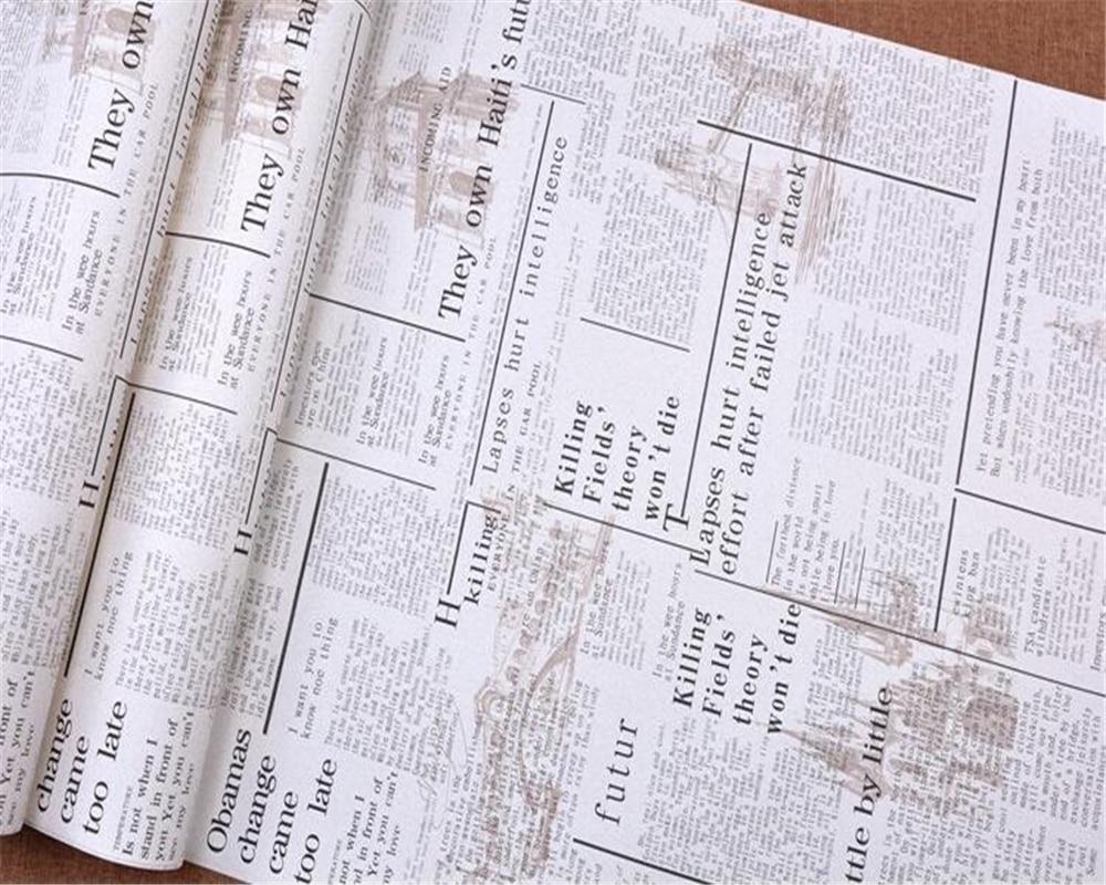 Beibehang アメリカのレトロな壁紙ノスタルジックな英語新聞背景壁紙