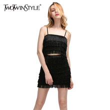 009ed7fd765 TWOTWINSTYLE Tassel Skirt Suits For Women Suspenders Strapless Short Tops  With Elastic High Waist Bodycon Mini Skirts 2018 Sexy