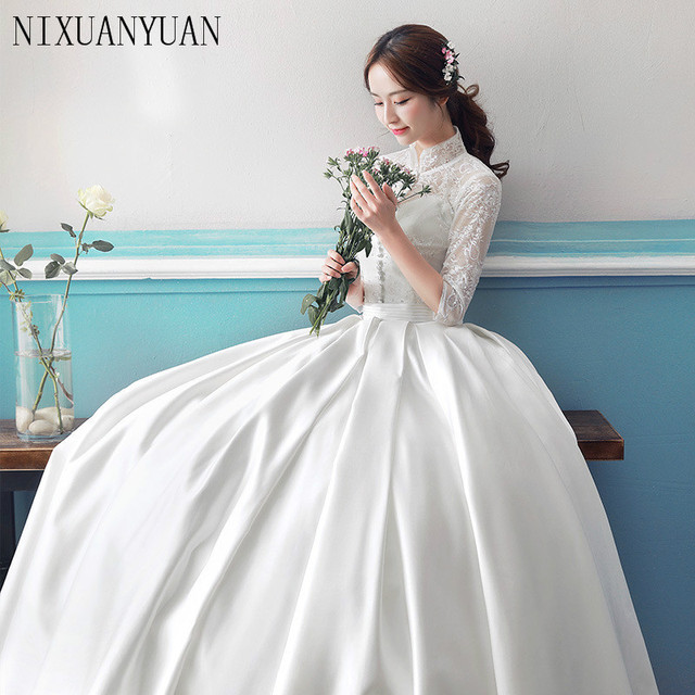 Ball Gown Simple Long Sleeve Wedding Dresses with Lace 2017 Scoop ...