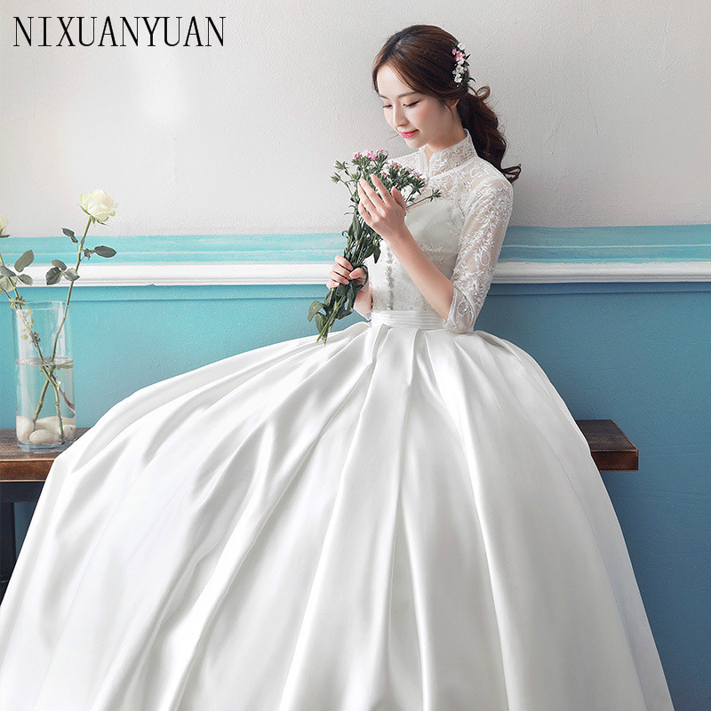 Long Sleeve Lace Wedding Dresses Ball Gown Backless: Ball Gown Simple Long Sleeve Wedding Dresses With Lace