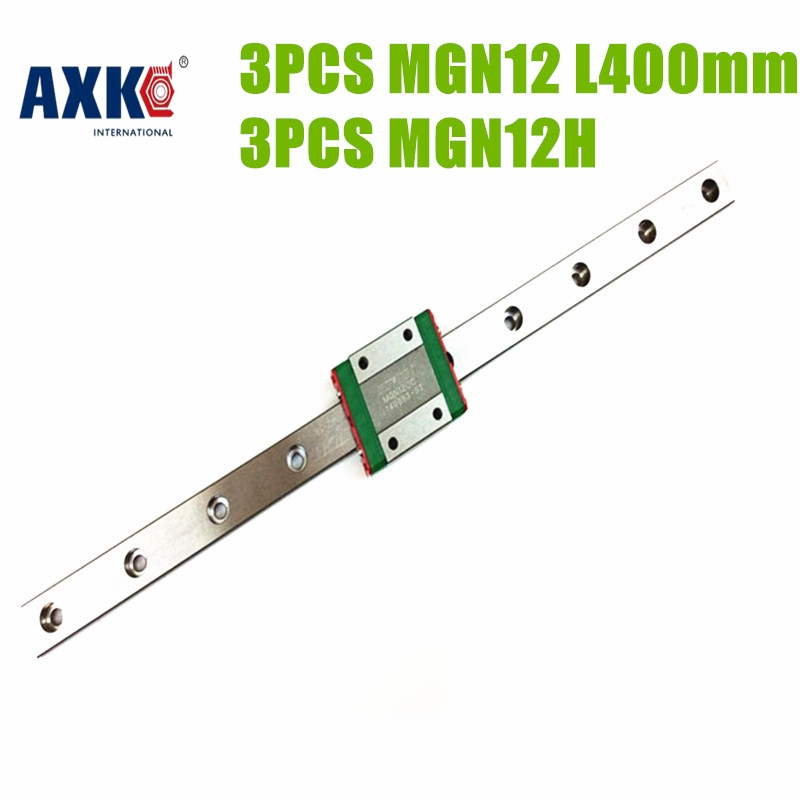 AXK  MGN12 3pcs 12mm miniature linear guide MGN12 L 400mm rail with 3pcs MGN12H carriage for X Y Z axis 3d printer parts axk mr12 miniature linear guide mgn12 long 400mm with a mgn12h length block for cnc parts free shipping