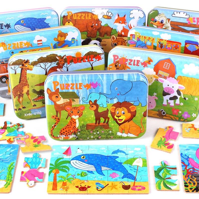 Детские игрушки четыре дизайн мультфильм головоломки железный ящик деревянный дошкольного образования Деревянные игрушки Монтессори