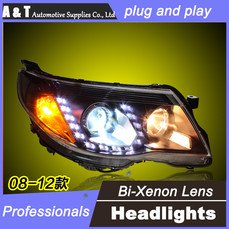 car styling For Forester headlight assembly angel eyes 2008-2012 For Forester bi xenon lens h7 with hid kit 2pcs. 1pc 2 5 hid xenon ultimate bi xenon projector lens parking car styling headlight diy lamp for h1bulb with shrouds h4 h7 socket