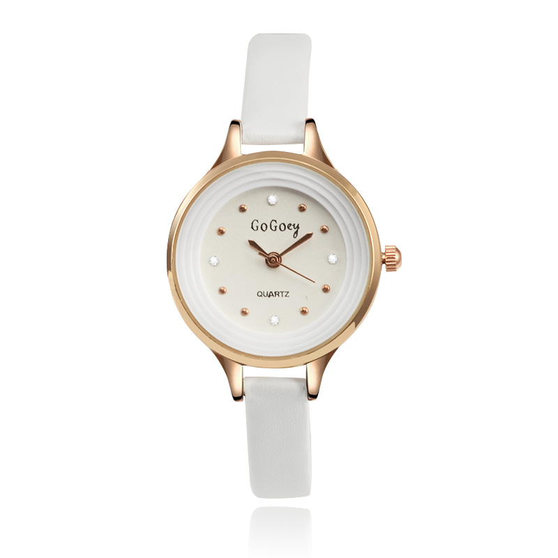 2019 New Hot Sell Elegant Crystal Watch Case Women Quartz Watches Gogoey Brand Fashion Casual Leather Watch Ladies Wristwatch