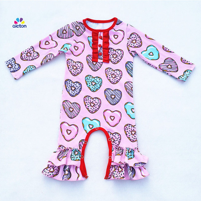 2018 Newborn Baby Clothes Doughnuts Baby Ruffle Rompers Wholesale