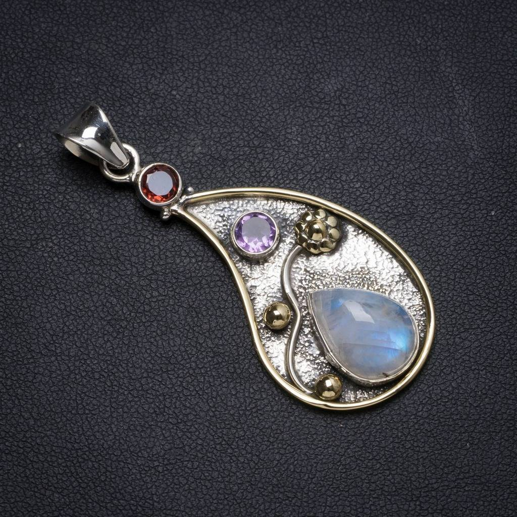 Natural Two Tones Rainbow Moonstone andAmethyst Handmade Unique 925 Sterling Silver Pendant 2.25