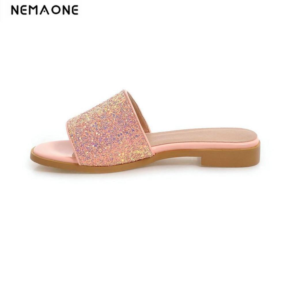 or Femmes Plates D'été Sandales rose blanc Chaussures Nouvelles 2018 Doux Pantoufles argent Noir Bling ZFxvBn