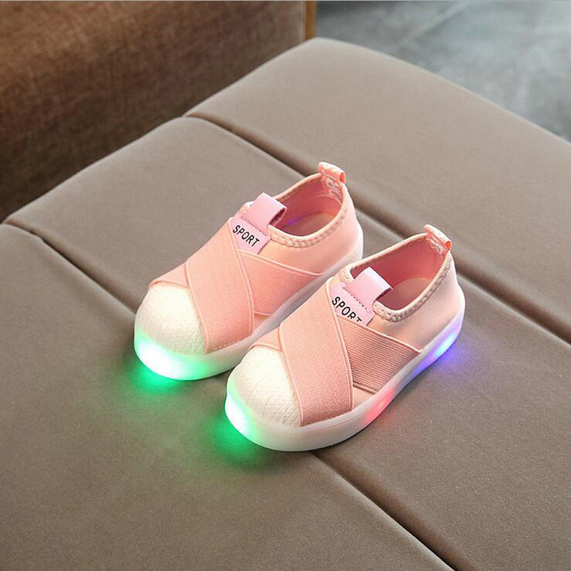 2018 Fashion Kids LED Shoes Boys Girls Glowing Shoes Children Canvas Led Princess Flat Shoes Baby Soft Sneakers EU Size 21-30