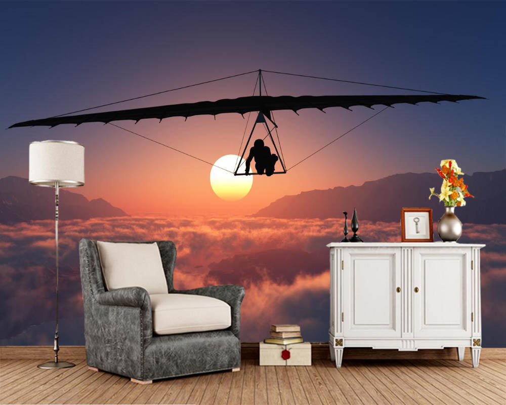 Papel De Parede Hang Gliding Flight Clouds Sun Sport 3d Wallpaperliving Room Bedroom TV Background Wall Papers Home Decor Mural In Wallpapers From