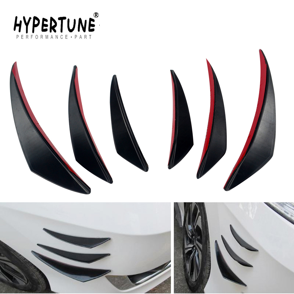 Black 4pcs//set Universal Car Canards Front Bumper Lip Splitter Diffuser Fins Body Valence Chin Wing Widebody Tunning Canard Spoiler