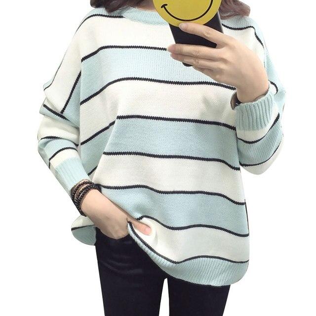 2017 Cor Doce doce Listrado Camisola Mulheres Pullover Blusas de Manga Longa das Mulheres do Sexo Feminino de Moda Harajuku Blusas de Malha Topos