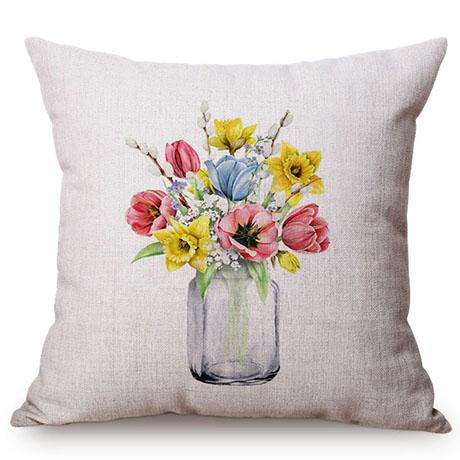 Colorful Nordic Floral Vase Glass Jar Home Sofa Small Fresh Decorative Cushion Cover Chic Purple Flower Cotton Linen Pillow Case M109-1