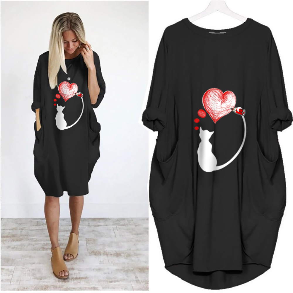 Women 39 s Summer Bud Full Sleeve Dress Cartoon Printing Casual Loose Style O Neck Dress Fashion Knee Length Dress Vestidos Sexy in Dresses from Women 39 s Clothing