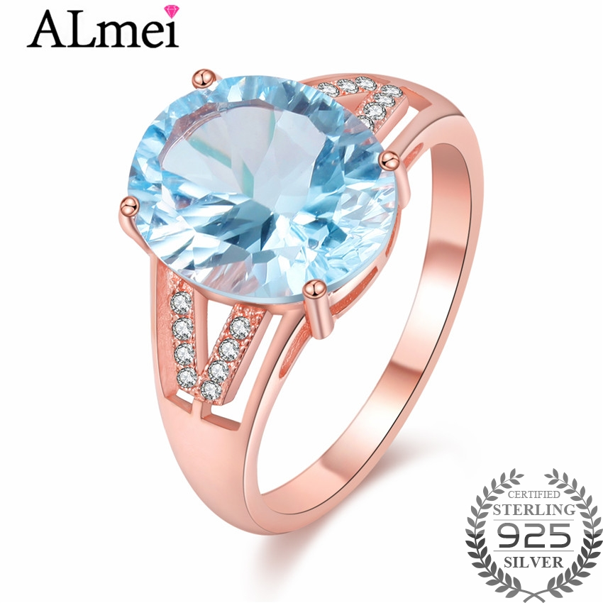 Almei Light Blue Topaz Zircon Ring with CZ Stone 925 Sterling Silver Women Rose Gold Color Wedding Rings Jewelry with Box CJ042 nandudu luxury rose gold color ring with for women wedding aaa zircon crystal rings jewelry r1814