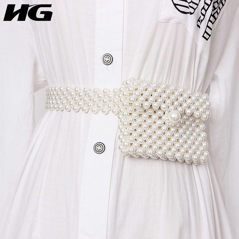 HG Weaving Beading Elastic Force Cummerbunds Fashion Women White Color Western Style Match All Cummerbunds WLD1601