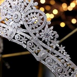 Image 4 - Splendido Da Sposa Corona Zircone Diademi di Cerimonia Nuziale di Cristallo Della Principessa Corone Wedding Accessori Per Capelli coroa de noiva
