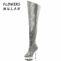 2018 New Arrival Winter 15CM High Heels Boots Shoes Knee High Bling Sequined Leather Upper Platform Knight Boots Women Botas