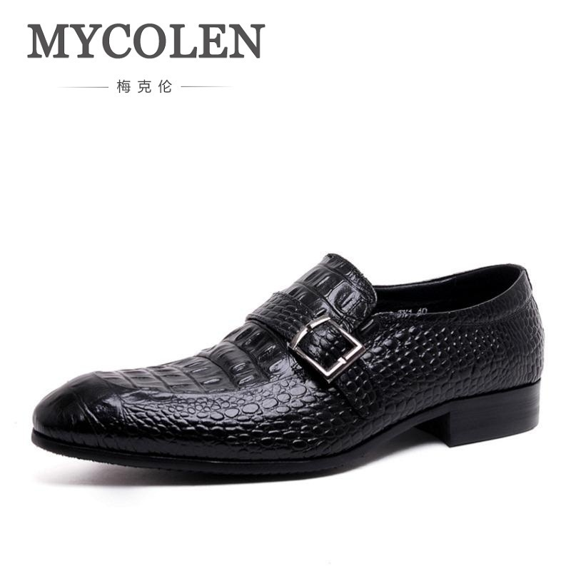 MYCOLEN Luxury Mens Shoes Genuine Leather Black Formal Men Dress Shoe For Wedding Party Buckle Business Classic Men Flat Brown 2017 vintage retro custom men flat hot sale real mens oxford shoes dress wedding party genuine leather shoes original design