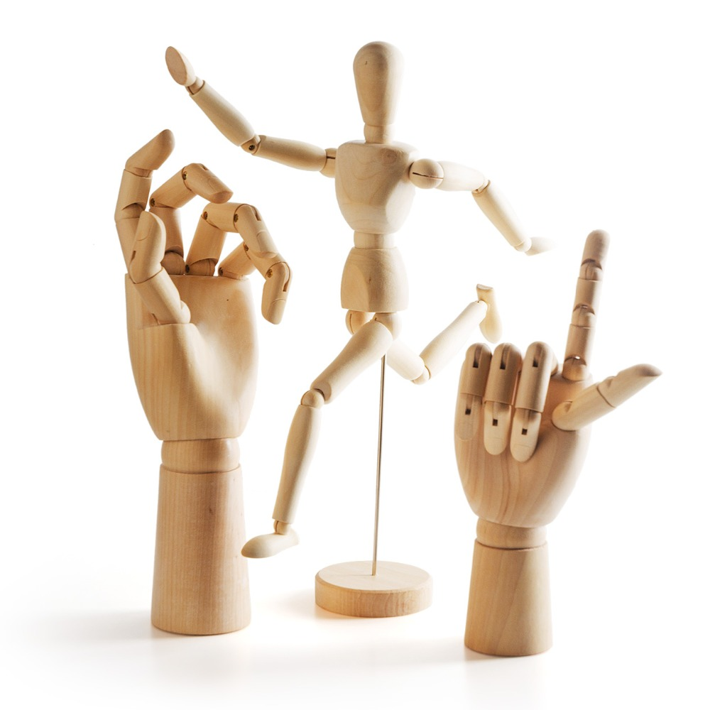 Wooden Artist Manikin-12 Inches High Human Artist Model on Stand Flexible Lady's Left Hand+Gentleman's Right Hand Model new 1pc right left hand wooden model sketching drawing jointed movable fingers mannequin