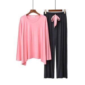 Image 4 - Женский пижамный комплект, однотонная свободная пижама с длинным рукавом и брюки с круглым вырезом, комплект из 2 предметов, весна осень 2019