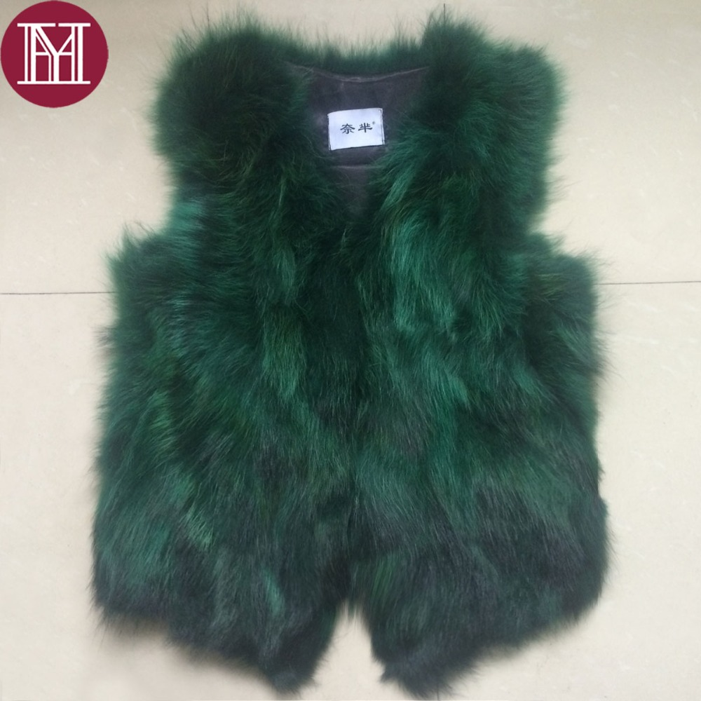 2018 Winter autumn women natural raccoon fur vest lady elegant real raccoon fur coat Gradient color