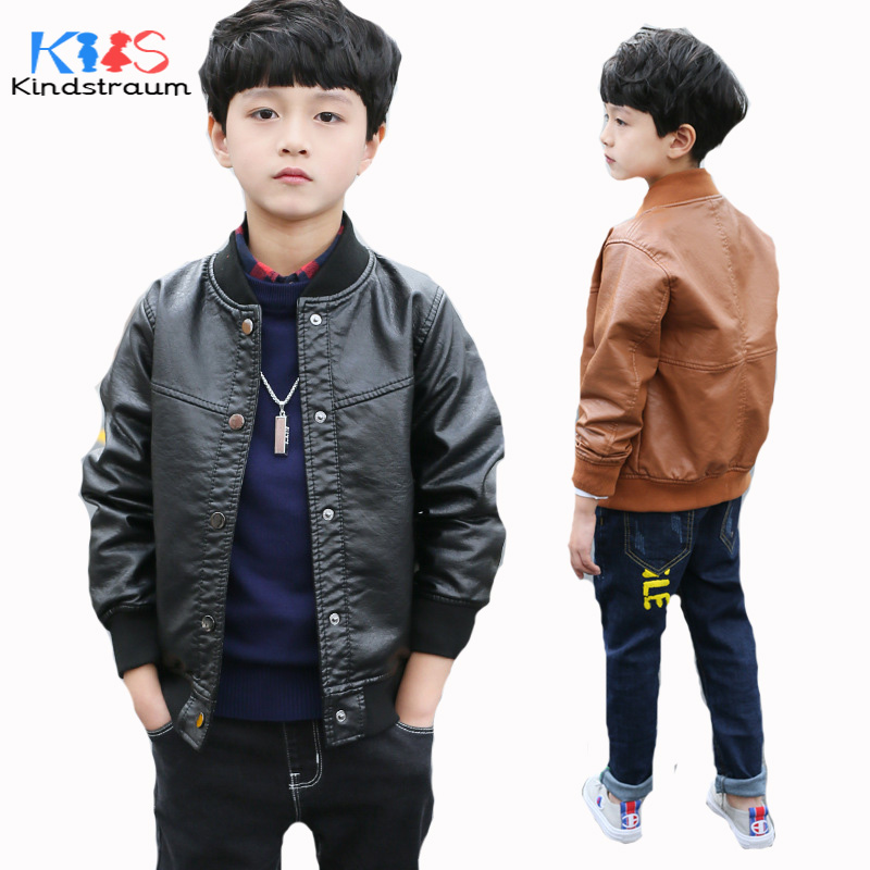 Kindstraum 2018 New Boys Casual Faux Leather Jackets Fashion Brand Kids Solid Leather Coat Spring Children Autumn Outwear,MC1053