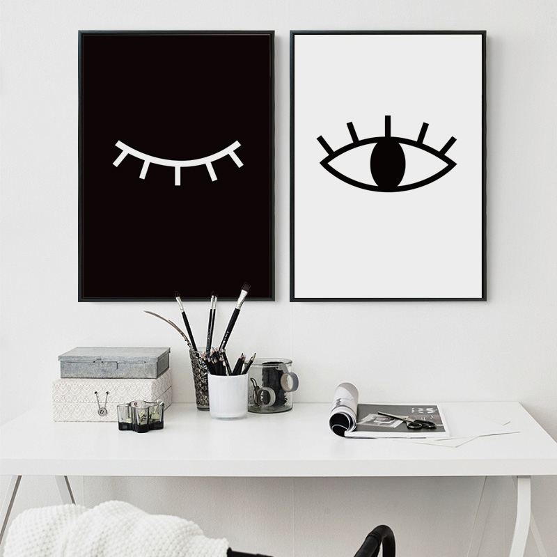 bianche mur minimaliste noir et blanc abstrait yeux toile peinture art print affiche mur. Black Bedroom Furniture Sets. Home Design Ideas