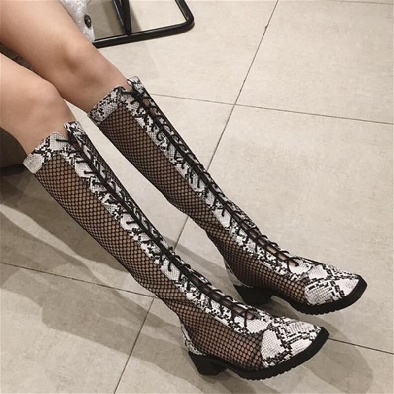 Bottes d'été femmes 2019 chaussures d'été respirant genou haute femmes bottes Style serpent