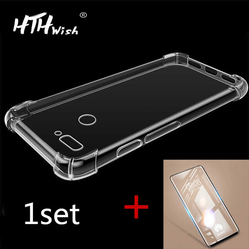 Clear Soft TPU Phone Case For Huawei P20 P30 Mate20 10 Pro Lite case Shell plus 9D screen protector Shockproof Airbag Back Cover