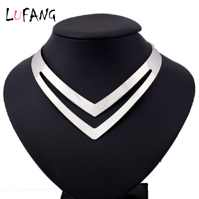 LUFANG 2019 brand Fashion Silver Color Boho Maxi Collier Statement Necklace Girl Punk Power collar Choker Necklace Women Jewelry