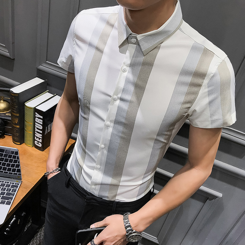 Korean Version Of The Casual Vertical Striped Shirt Men's Long-sleeved Slim Youth Handsome British Shirt Blue And White Korean W