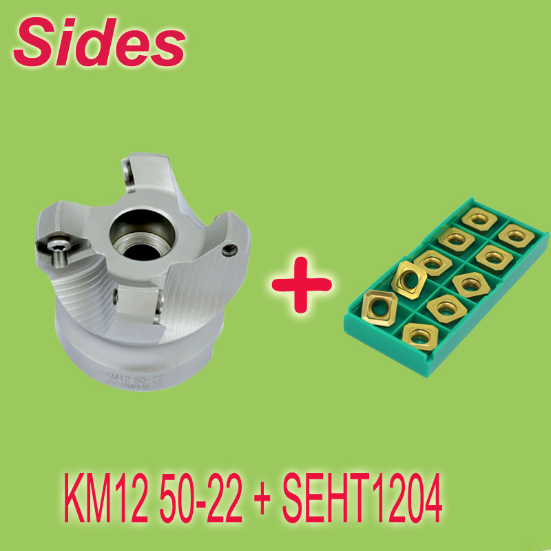 Free Shiping KM12 50-22-4T +10pcs SEHT1204 Coated Included 45 Degree Shoulder Mill Cutter Head and Milling Inserts Set