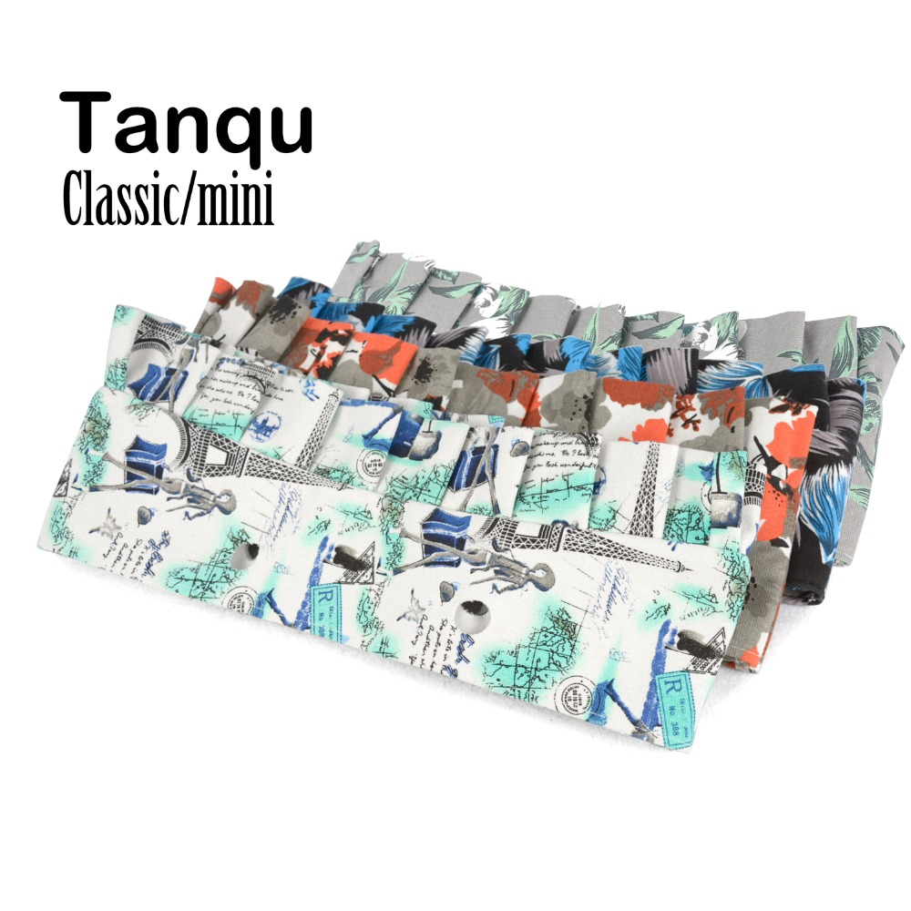 Tanqu Classic Mini Flounce Floral Canvas Fabric Trim with frill pleat for Obag O Bag Accessory tanqu tela insert lining for o chic ochic colorful canvas inner pocket waterproof inner pocket for obag