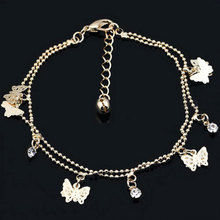 1Piece Gold Color Multi Butterfly Bling Rhinestone Ankle Bracelet Doublelayer Foot Chain for Lady Hot