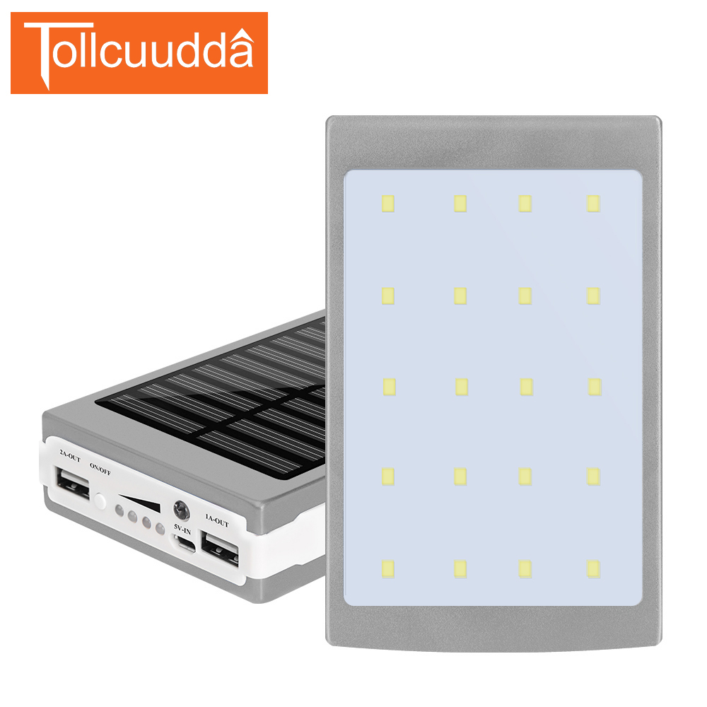 imágenes para Tollcuudda 10000 mAh Banco de la Energía Solar Luz Que Acampa Batería Externa Cargador Portátil Banco Pover Para Iphone6 Xiaomi Teléfonos Móviles
