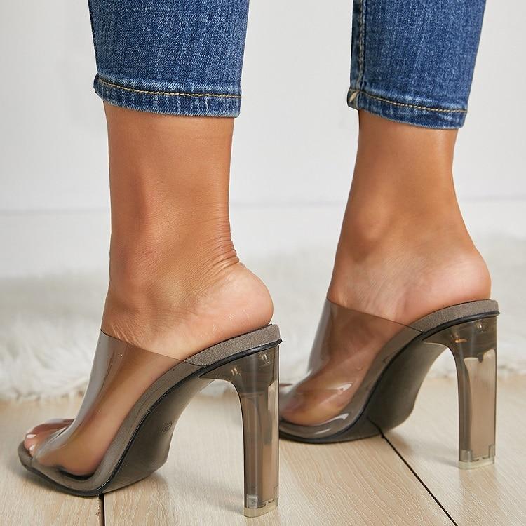 Women Clear High heels Summer Slippers