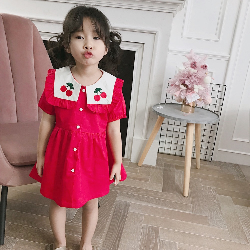 2019 summer dresses for girls Navy style rose red dress Cute cherry print baby girls clothes kids lovely short sleeve dress2019 summer dresses for girls Navy style rose red dress Cute cherry print baby girls clothes kids lovely short sleeve dress