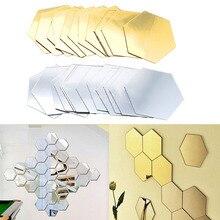 12 Uds 3D hexágono acrílico espejo pegatinas de pared DIY decoración atística de pared pegatinas decoración del hogar sala de estar adhesivo decorativo de espejo J2Y