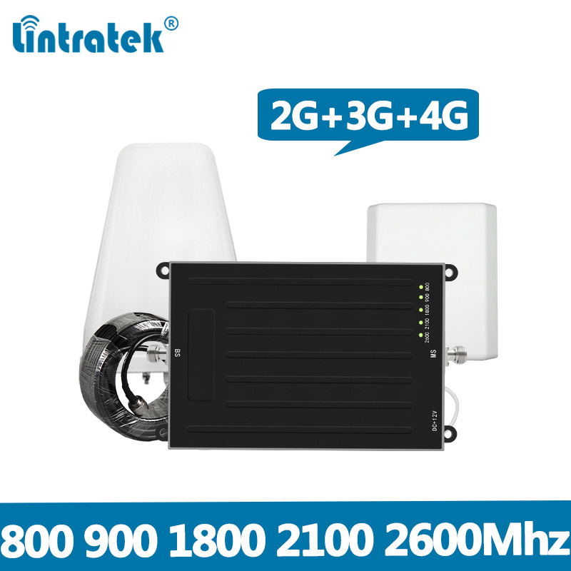 Lintratek 2G 3G 4G Signal Booster 900 800 1800 2100 2600Mhz Repeater GSM 2G 3G 4G LTE Signal Amplifier Five-band For Europe @7