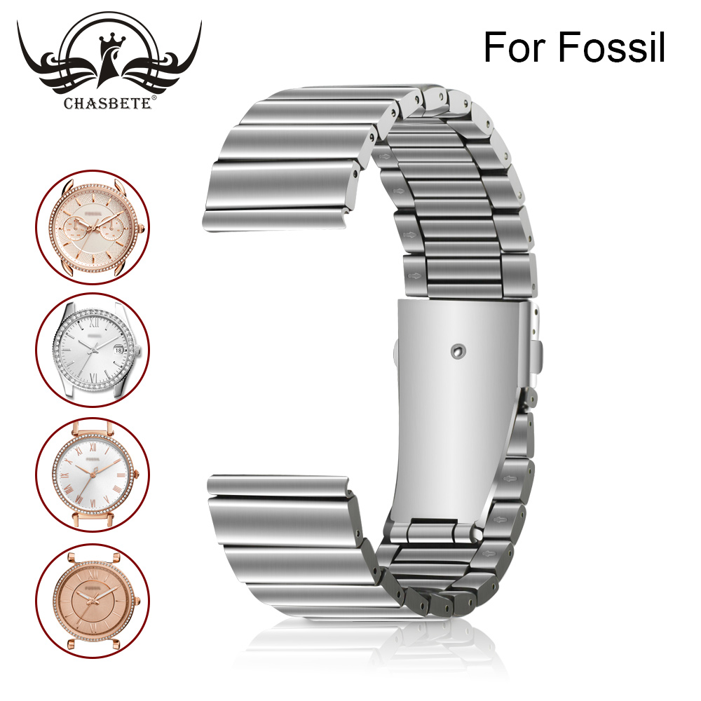 compatible Fossil Watchband 22mm 24mm Stainless Steel Watch
