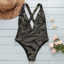 лучшая цена 2019 Deep V Swim Suit Backcross Sexy Swimwear Women One Piece Swimsuit Bandage Padd Bathing Suit Maillot De Bain Monokini Mayo