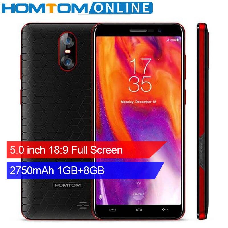 Originale HOMTOM S12 5.0 pollice 18:9 Pieno Schermo Dello Smartphone 2750 mAh 1 GB + 8 GB MTK6580 Quad core 8MP Dual camme WCDMA del telefono Mobile