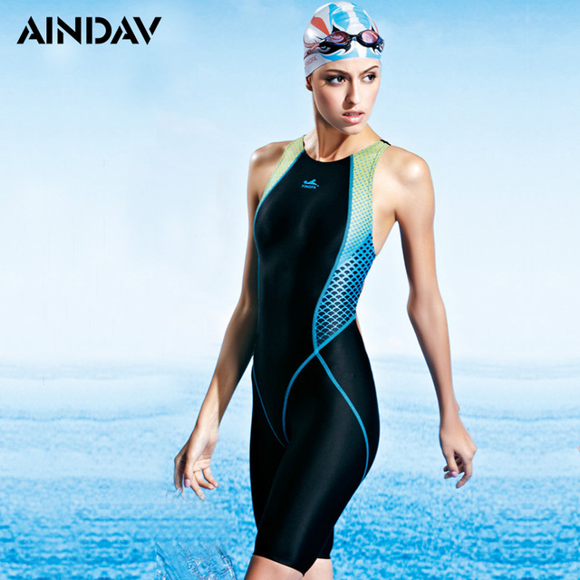5349c32c3f Professional Athlete Endurance One Piece Swimsuit Arena Swimwear Women  Racing Three Quarter Shorts Bathing Suits Sport Suit-in Body Suits from  Sports ...